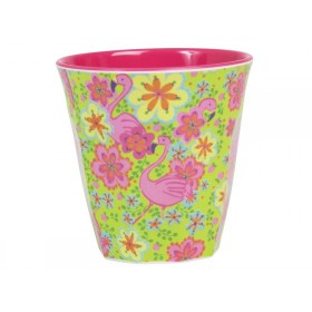 Melamine cup two tone with flamingo print by RICE