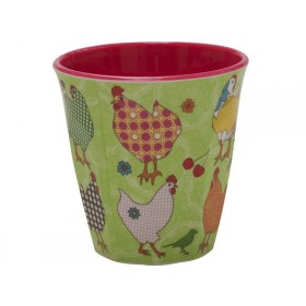 Green melamine cup two tone with hen print by RICE