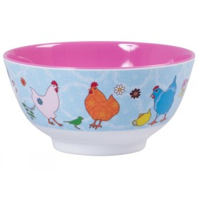Melamine bowl two tone with hen print by RICE