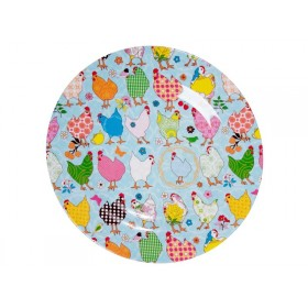 Melamine side plate two tone with hen print by RICE