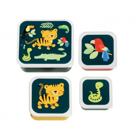 A Little Lovely Company Lunchbox Set JUNGLE ANIMALS