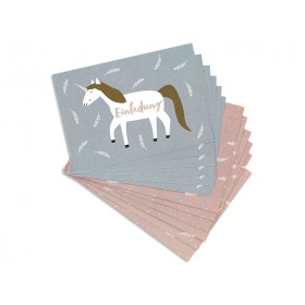 Ava & Yves Invitation Postcard Set UNICORN mauve