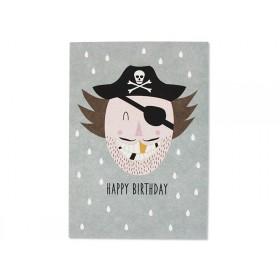 Ava & Yves Postcard PIRATE Happy Birthday