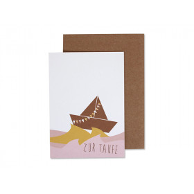 Ava & Yves Greeting Card BAPTISM Ship rose