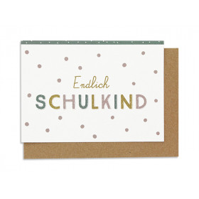 Ava & Yves Greeting Card SCHOOL Kid White Dots