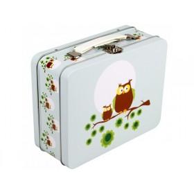 Blafre metal lunchbox owl light blue