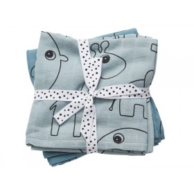 Done by Deer Contour burp and swaddle cloth 2-pack blue