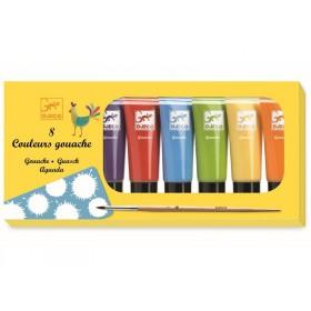 Djeco 8 Gouache Colour Tubes Classic Colours
