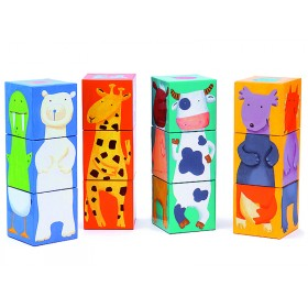 Stacking tower with colourful animals by Djeco