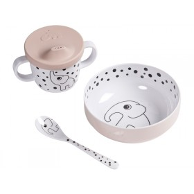 Done by Deer HAPPY DOTS baby tableware set powder