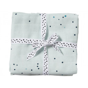 Done by Deer Burp and Swaddle Cloth 2-pack DREAMY DOTS blue