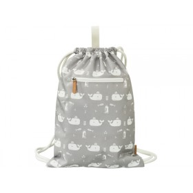 Fresk Drawstring Bag WHALES grey