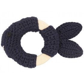Global Affairs Crochet Ring Rattle FISH dark grey