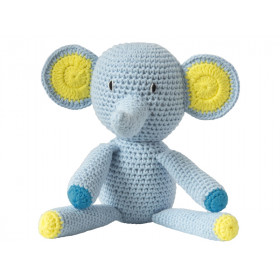 Global Affairs Crochet Animal ELEPHANT light blue
