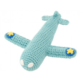 Global Affairs Knitted Rattle AIRPLANE aqua
