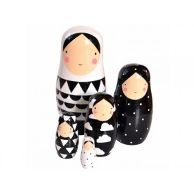 Helen Dardik nesting dolls black and white
