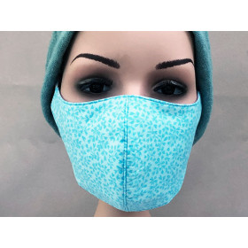 Hickups Fabric Mask ADULTS FEMALE Leaves blue