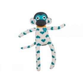 Hickups sock monkey hearts white/turquoise