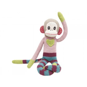 Hickups XXL knitted monkey pink green