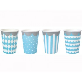 JaBaDaBaDo Party Cups light blue and white