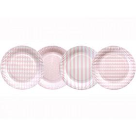Jabadabado Paper Plates light pink and white