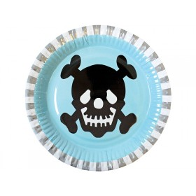 JaBaDaBaDo party plates PIRATES light blue
