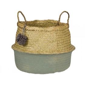 KidsDepot raffia basket POMPOM SEAGREEN L