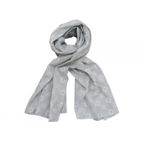Krasilnikoff scarf grey with diagonal flower print