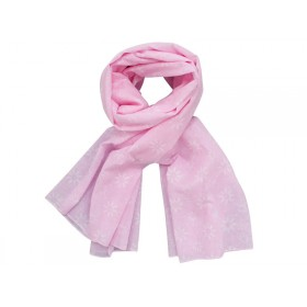 Krasilnikoff scarf pink with diagonal flower print