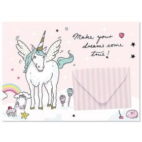 krima & isa postcard with envelope Unicorn