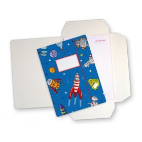 Folder map with rocket and stars