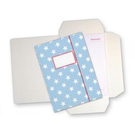 Soft blue folder map with stars