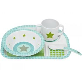 Melamine tableware set with star in olive by Lässig