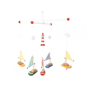 Mobile sailboats and lighthouse