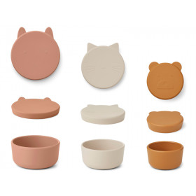 LIEWOOD 3 Silicone Snack Boxes CORGAN tuscany rose mix