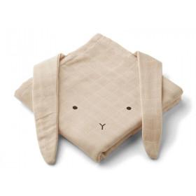 LIEWOOD Burp Cloth Hannah 2 Pack RABBIT sandy