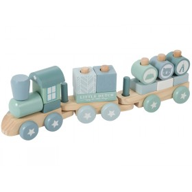 Little Dutch wooden stacking train blue