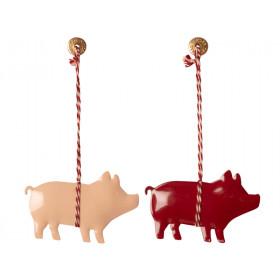 Maileg 2 Metal Ornaments  PIG