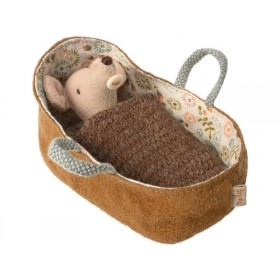 Maileg Baby Mouse in Carrycot brown