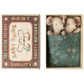 Maileg Baby Mice TWINS in Cigarbox