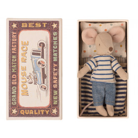 Maileg Mouse Big Brother in Matchbox RINGLETS