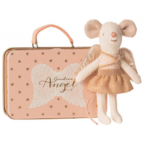 Maileg Little Sister Mouse GUARDIAN ANGEL with suitcase