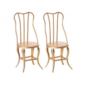 Maileg 2 CHAIRS for Micro gold