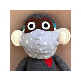 Hickups Fabric Mask KIDS Stars grey
