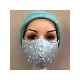 Hickups Fabric Mask ADULTS FEMALE Stars grey
