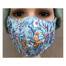 Hickups Fabric Mask ADULTS FEMALE Floral blue