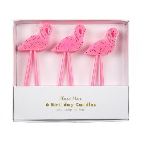 Meri Meri 6 Glitter Candles FLAMINGO