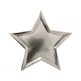 Meri Meri Large Party Plates Stars silver