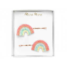 Meri Meri 2 Hair Slides GLITTER RAINBOWS