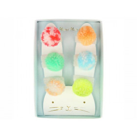 Meri Meri 6 Hair Ties POMPOMS neon